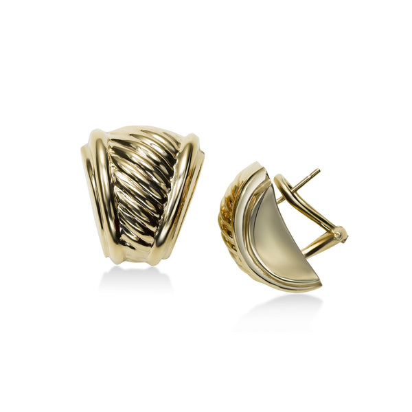 Diagonally Ribbed Button Earrings, 14K Yellow Gold