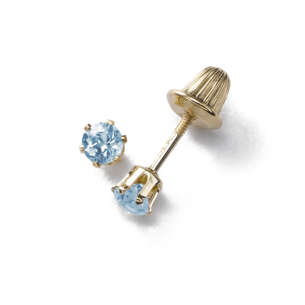 Baby's 3MM Blue Topaz Studs, 14K Yellow Gold