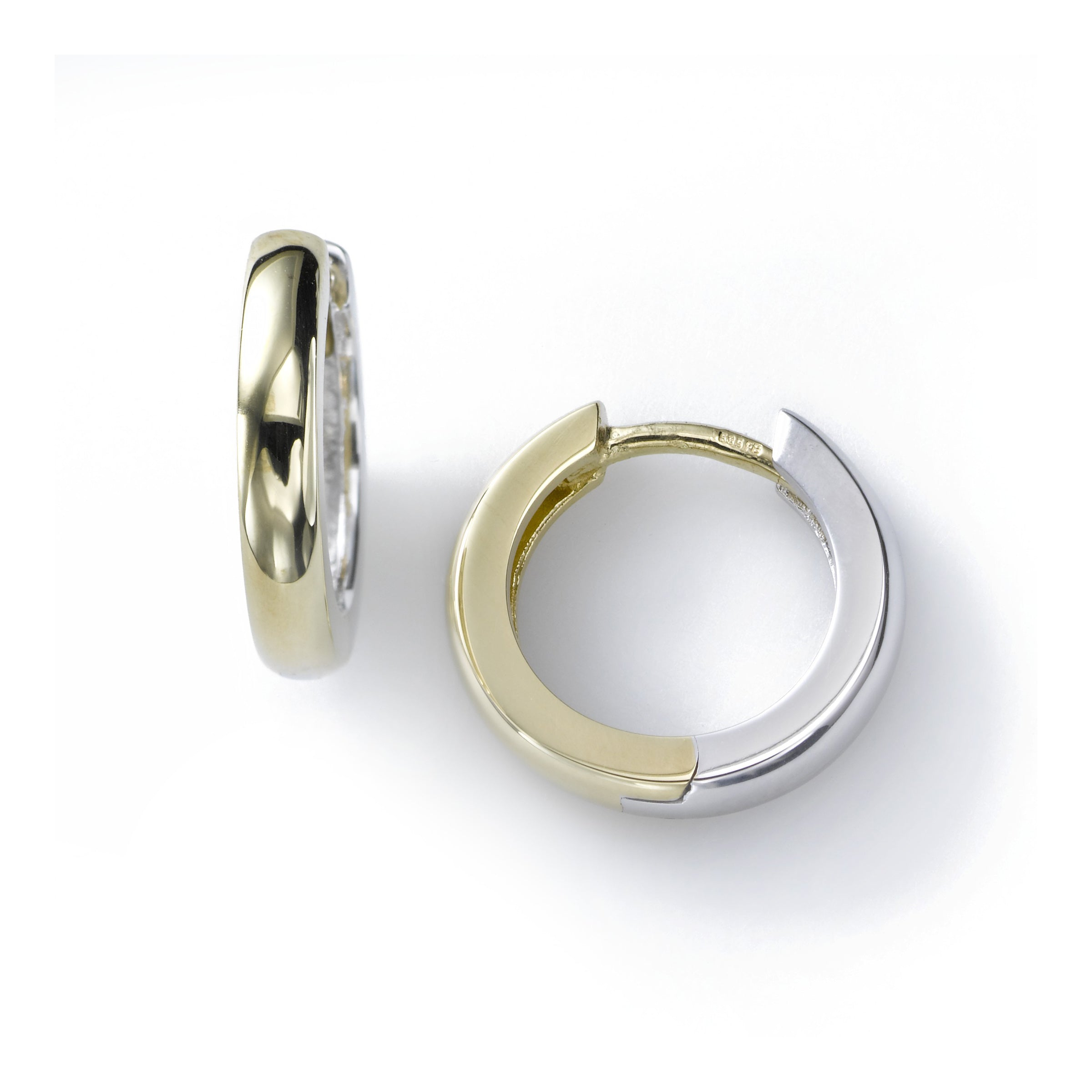 Reversible Small Huggie Hoop, .50 inch, 14K Yellow and White Gold