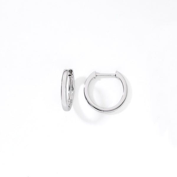 Huggie Hoop Earrings, .50 Inch Diameter, 14K White Gold