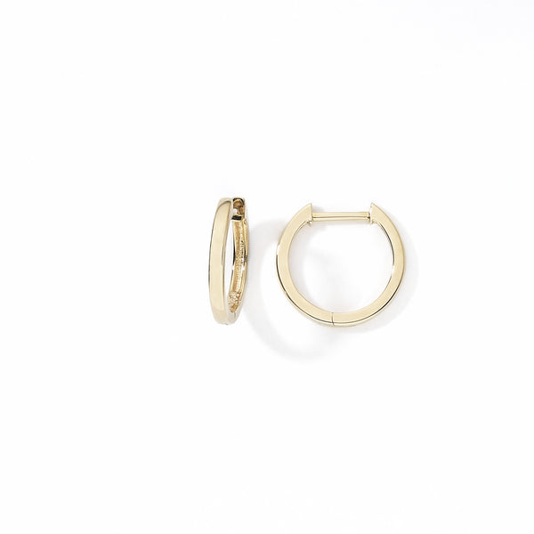 Huggie Hoop Earrings, .50 Inch Diameter, 14K Yellow Gold