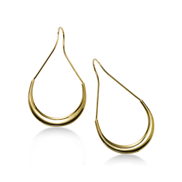 Modern Open Lightweight Hoop Earrings, 14K Yellow Gold