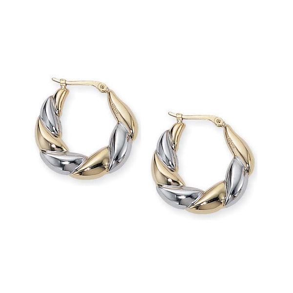 Two-Tone Scalloped Hoop Earrings, 14K Gold