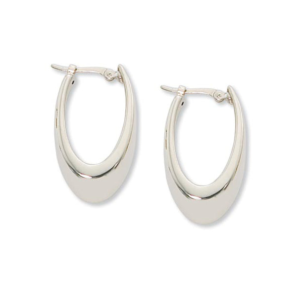 Shiny Oval Hoop Earrings, 14K White Gold