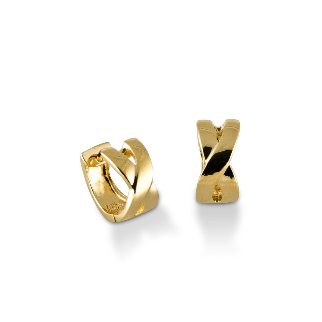 X Huggie Hoop Earrings, 14K Yellow Gold