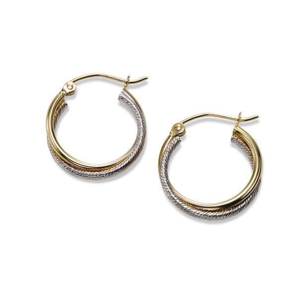 Two-Tone Twisted Hoop Earrings, 14 Karat Gold