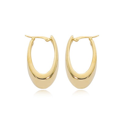Shiny Oval Hoop Earrings, 14K Yellow Gold