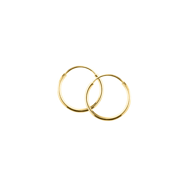 Child's Endless Hoop Earrings, 14K Yellow Gold