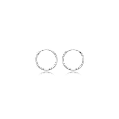 Small Endless Hoop Earrings, .60 Inch, 14K White Gold