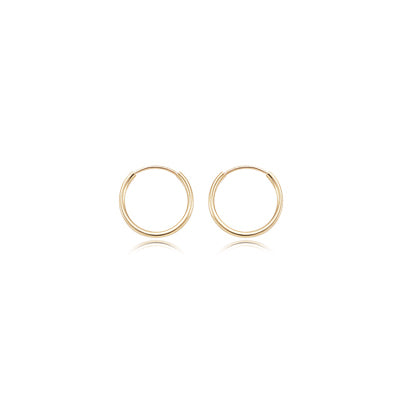 Small Endless Hoop Earrings, .60 Inch, 14K Yellow Gold