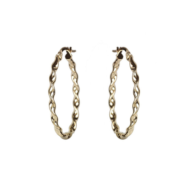 Twisted Oval Hoop Earrings, 14K Yellow Gold