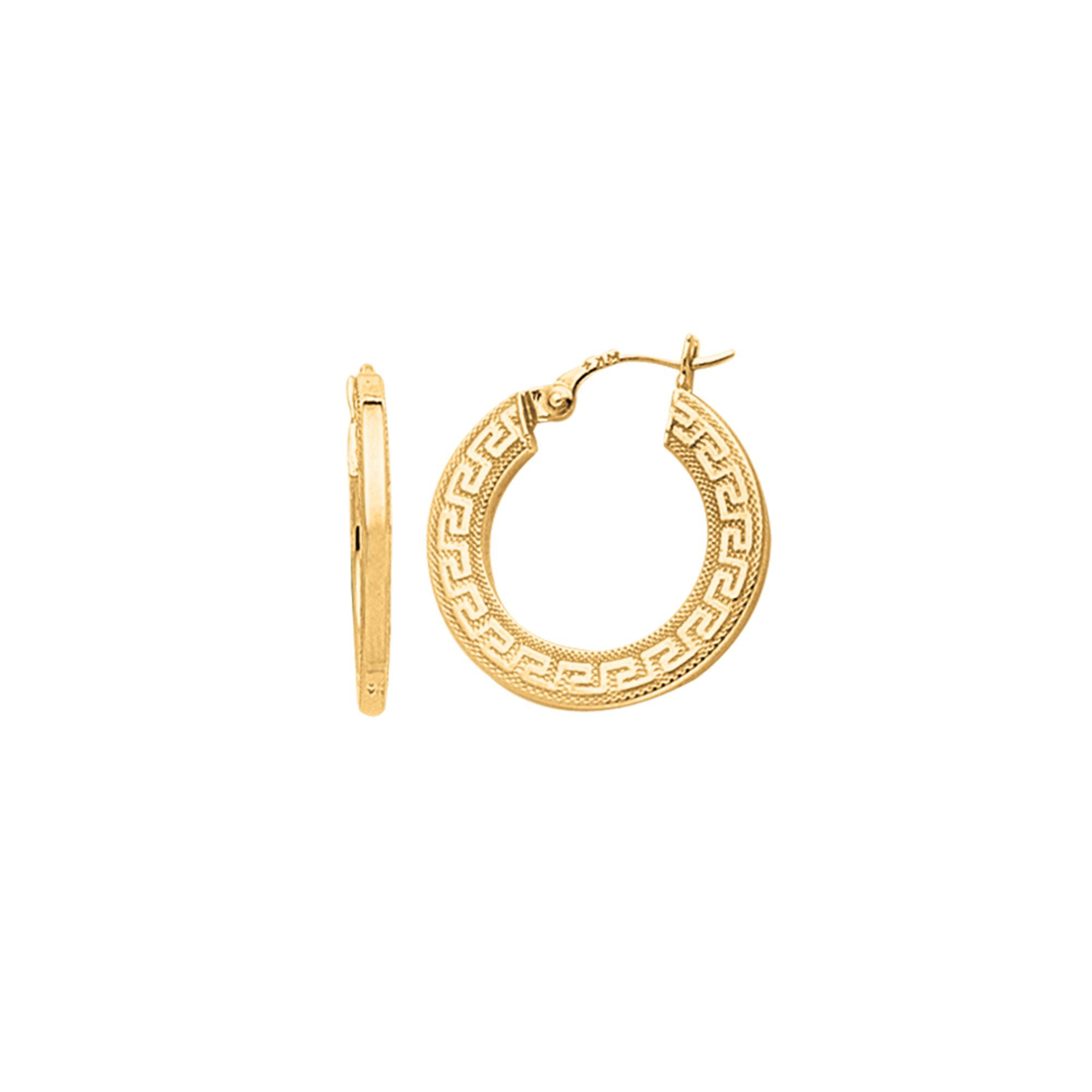 Greek Key Textured Hoop Earrings, 14K Yellow Gold