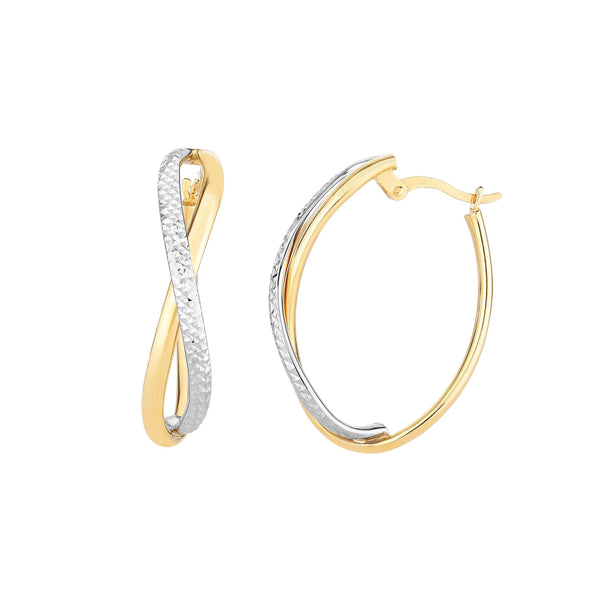 Two Tone Loop Design Hoop Earrings, 1 Inch, 14 Karat Gold