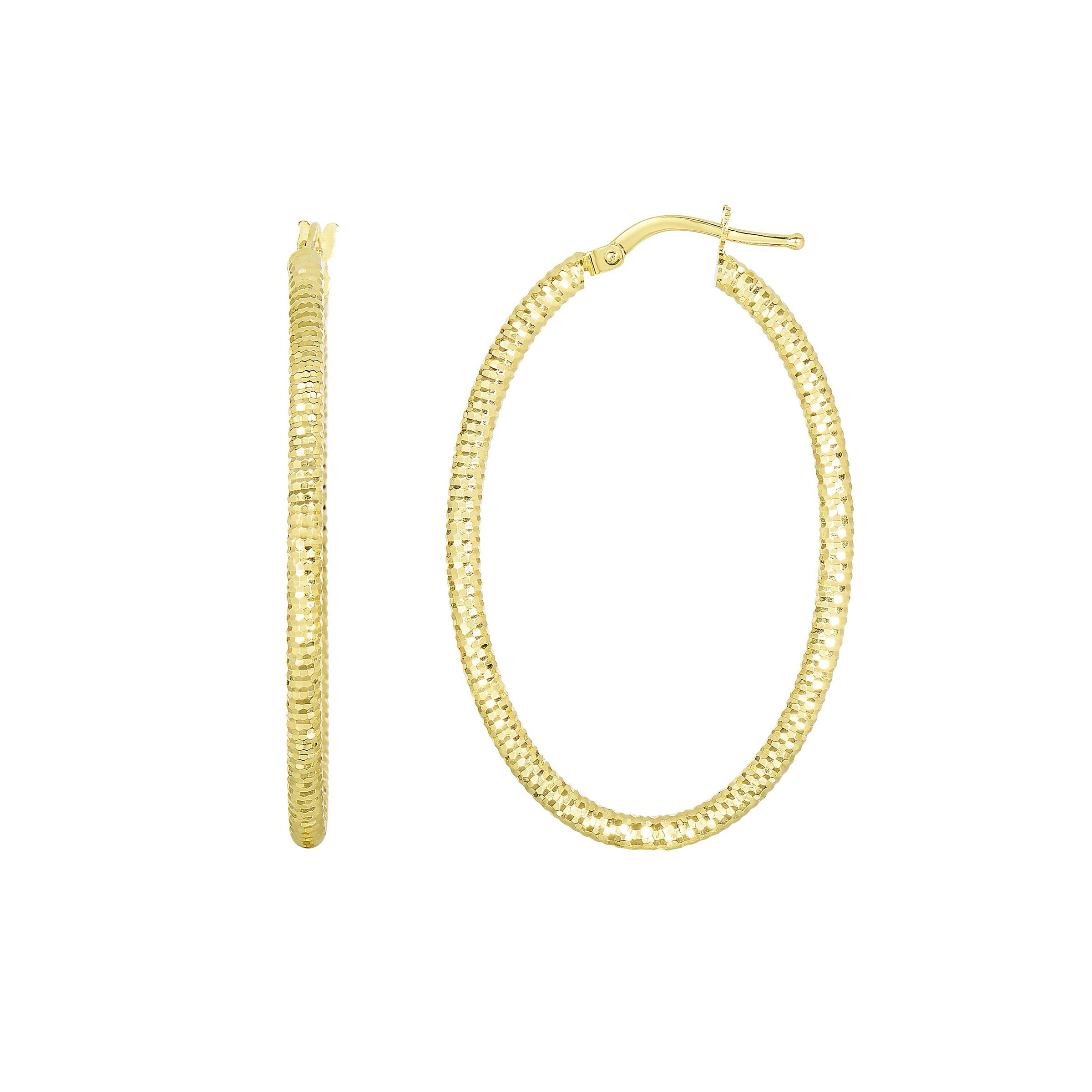 Diamond Cut Oval Hoop Earrings, 14K Yellow Gold