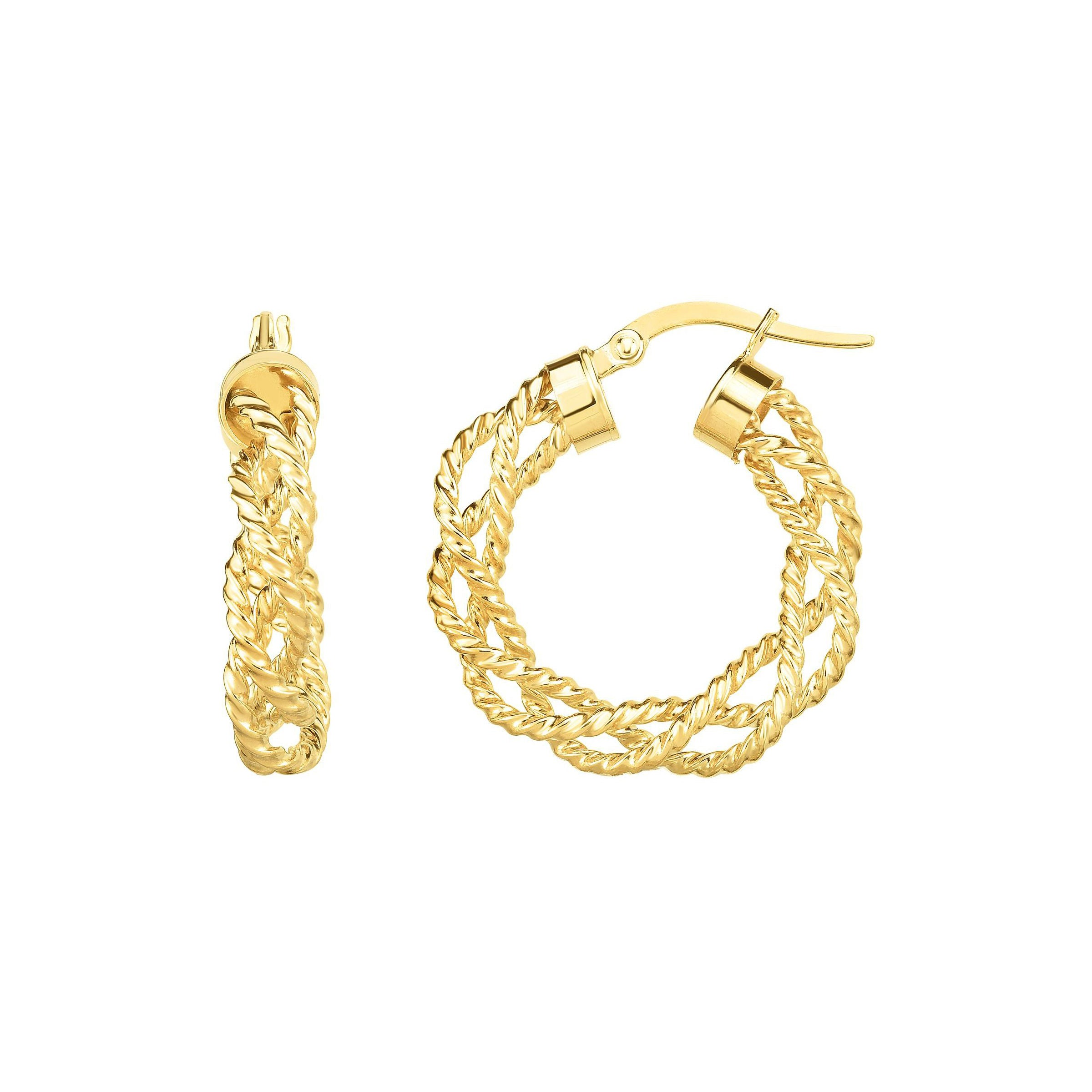 Looping Spiral Hoop Earrings, .60 Inch, 14K Yellow Gold