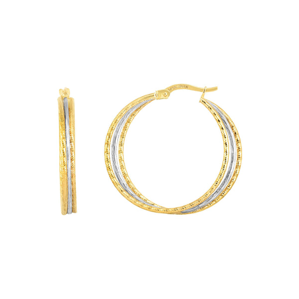 Two Tone Textured Hoop Earrings, 1 Inch, 14 Karat Gold