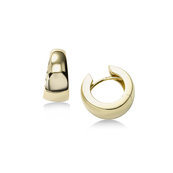 High Polish Tapered Huggie Hoop Earrings, 14K Yellow Gold