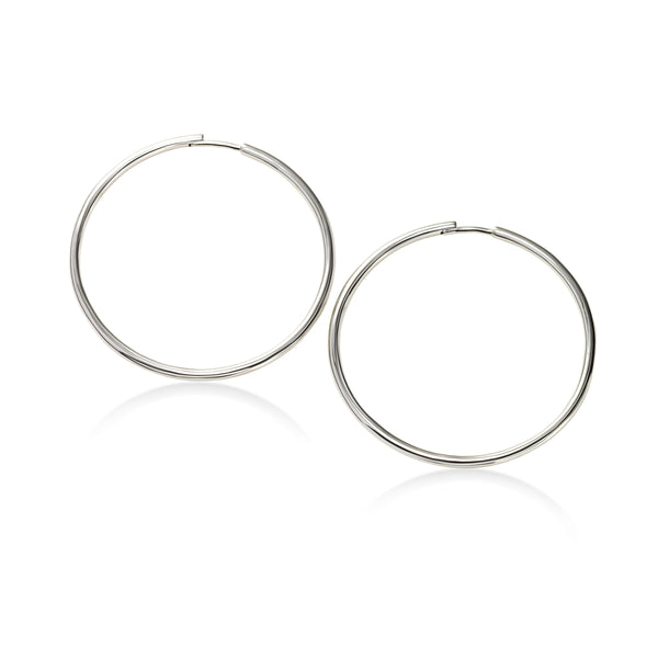 Infinity Hoop Earrings, 1.50 Inches, 14K White Gold