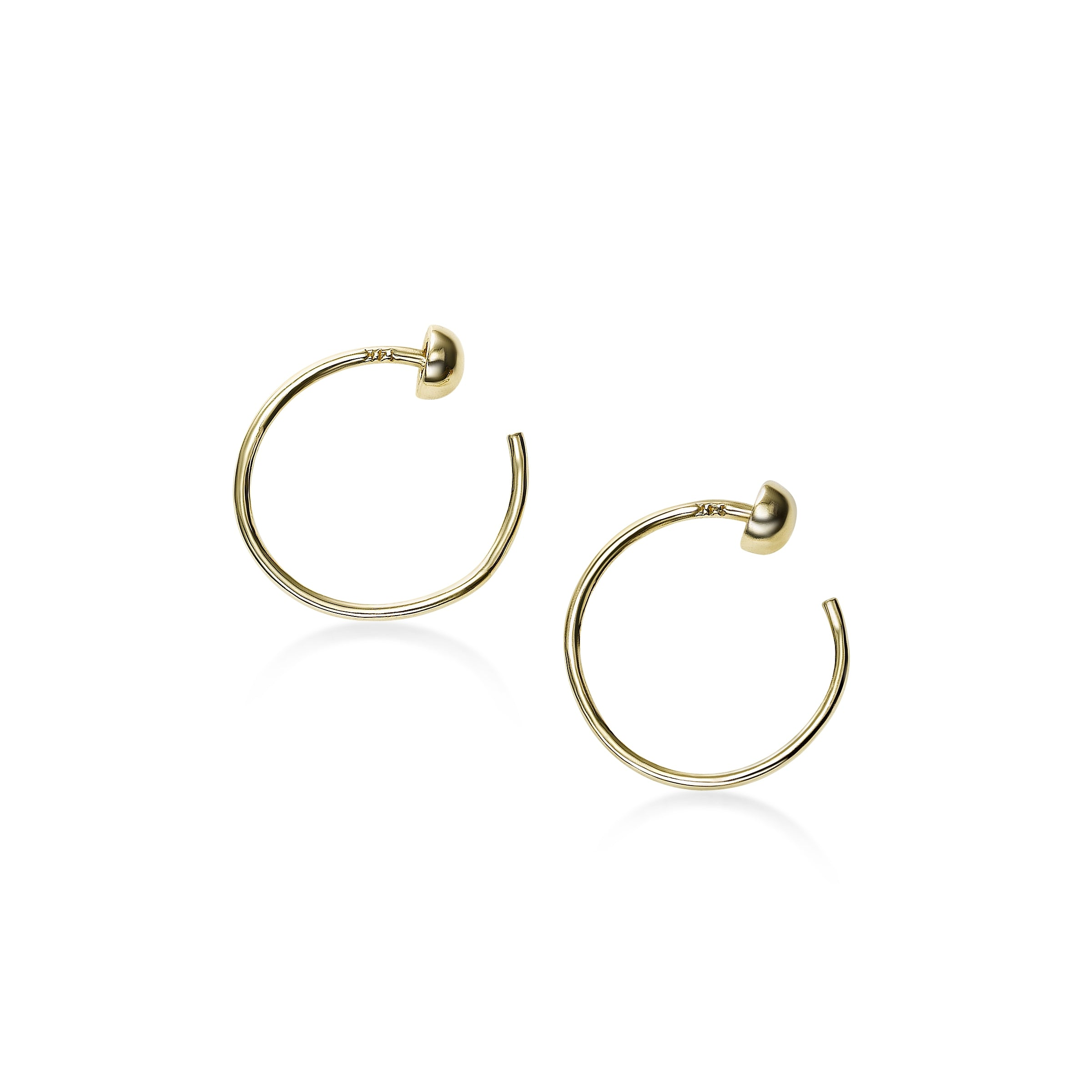 Open Wire Hoop Earrings, .50 Inch, 14K Yellow Gold