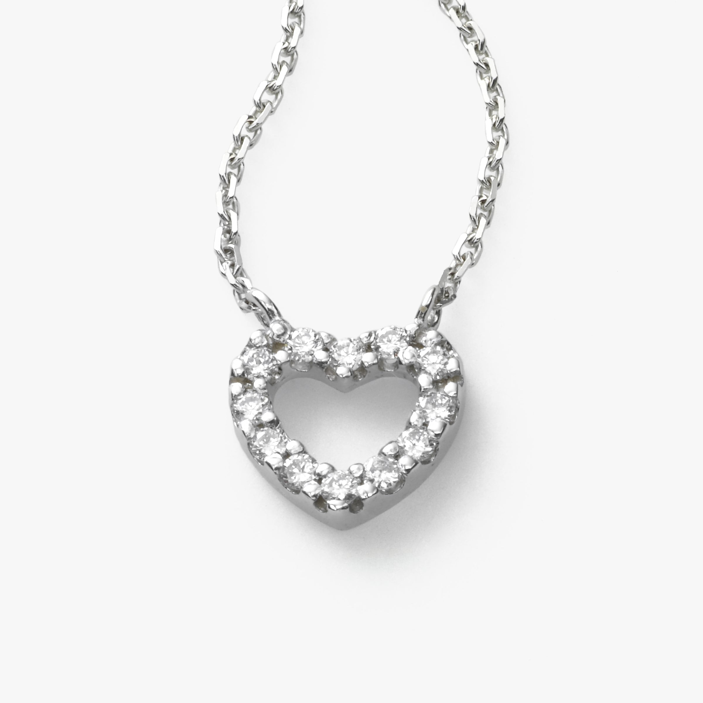 Kid's Small Diamond Heart Necklace, 14K White Gold