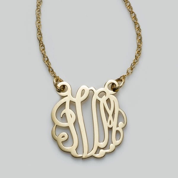 Monogram Pendant, Small, 14K Yellow Gold