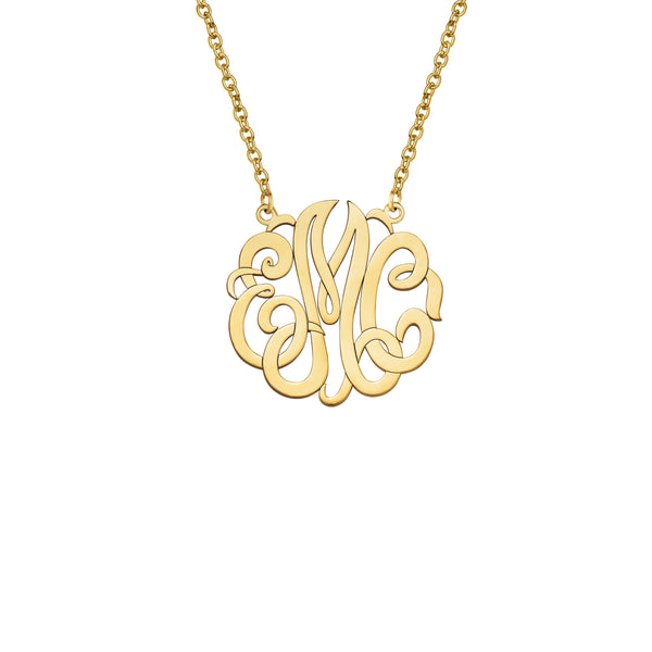 Monogram Pendant, Medium, 14K Yellow Gold