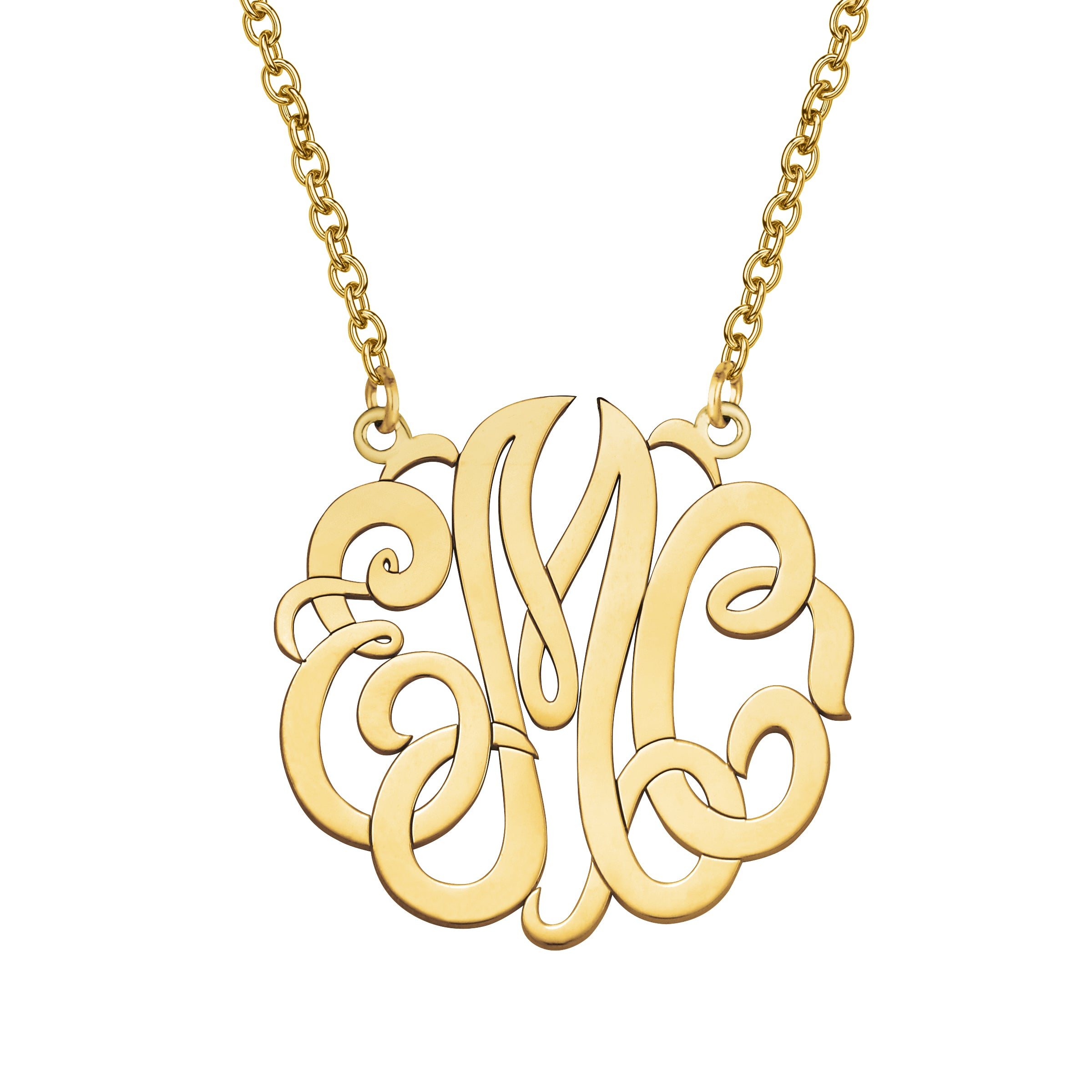 Monogram Pendant, Large, 14K Yellow Gold