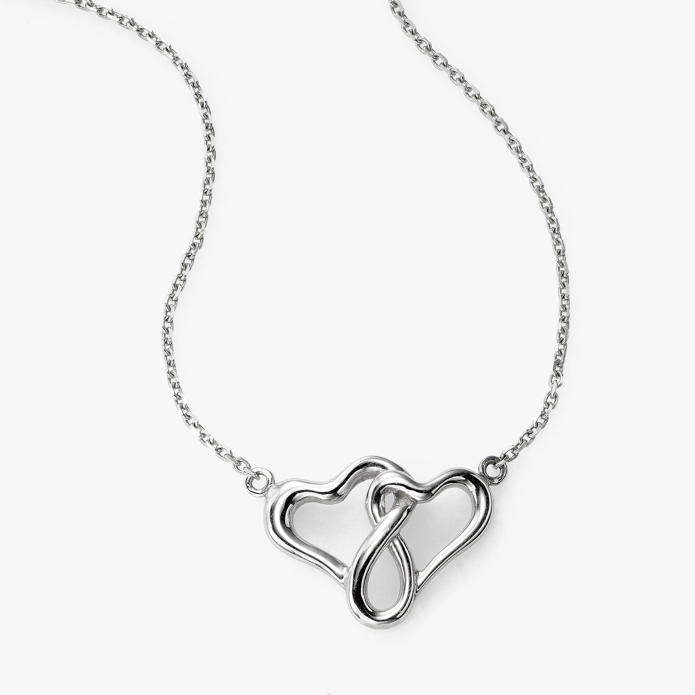 Happy Hearts Necklace, 16 Inches, 14K White Gold