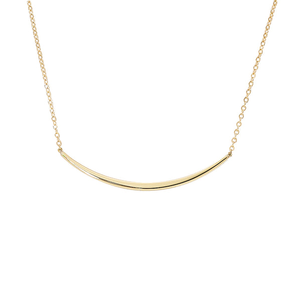 Curved Plaque Necklace, 14K Yellow Gold