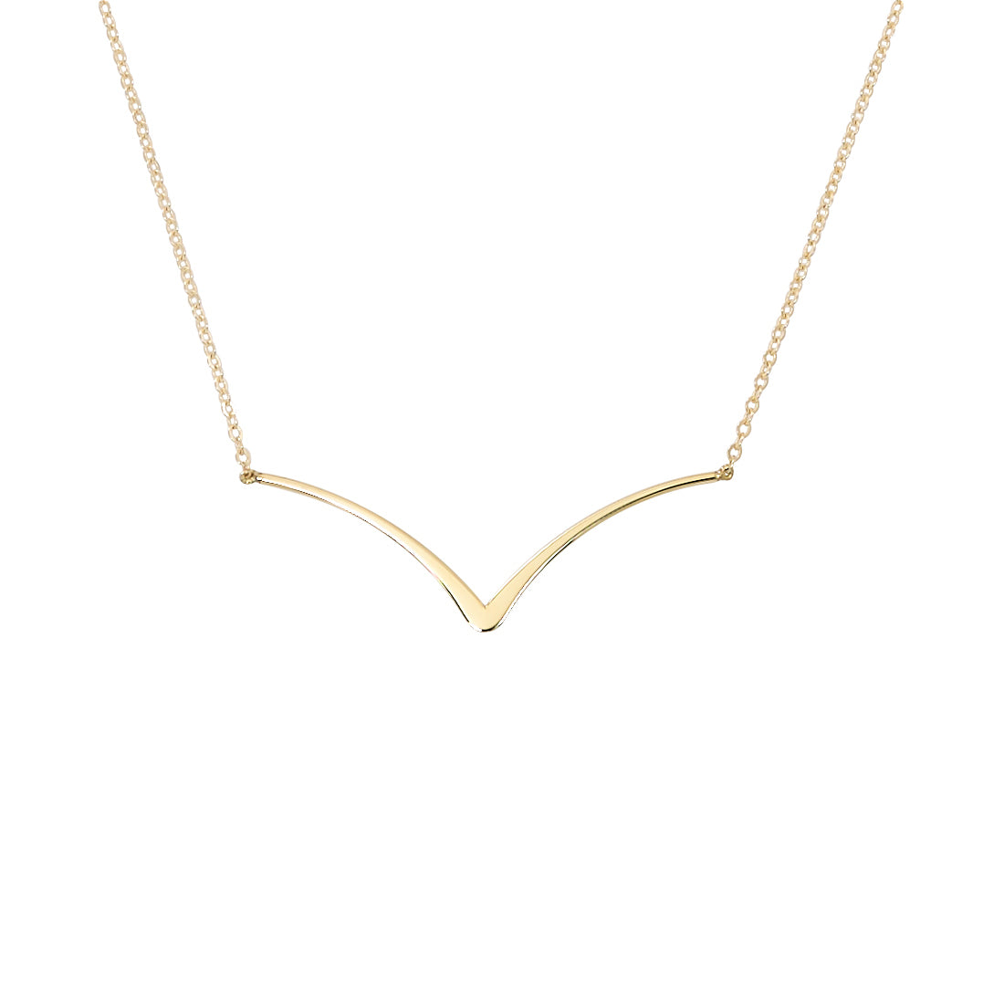 Wing Shape Plaque Necklace, 14K Yellow Gold