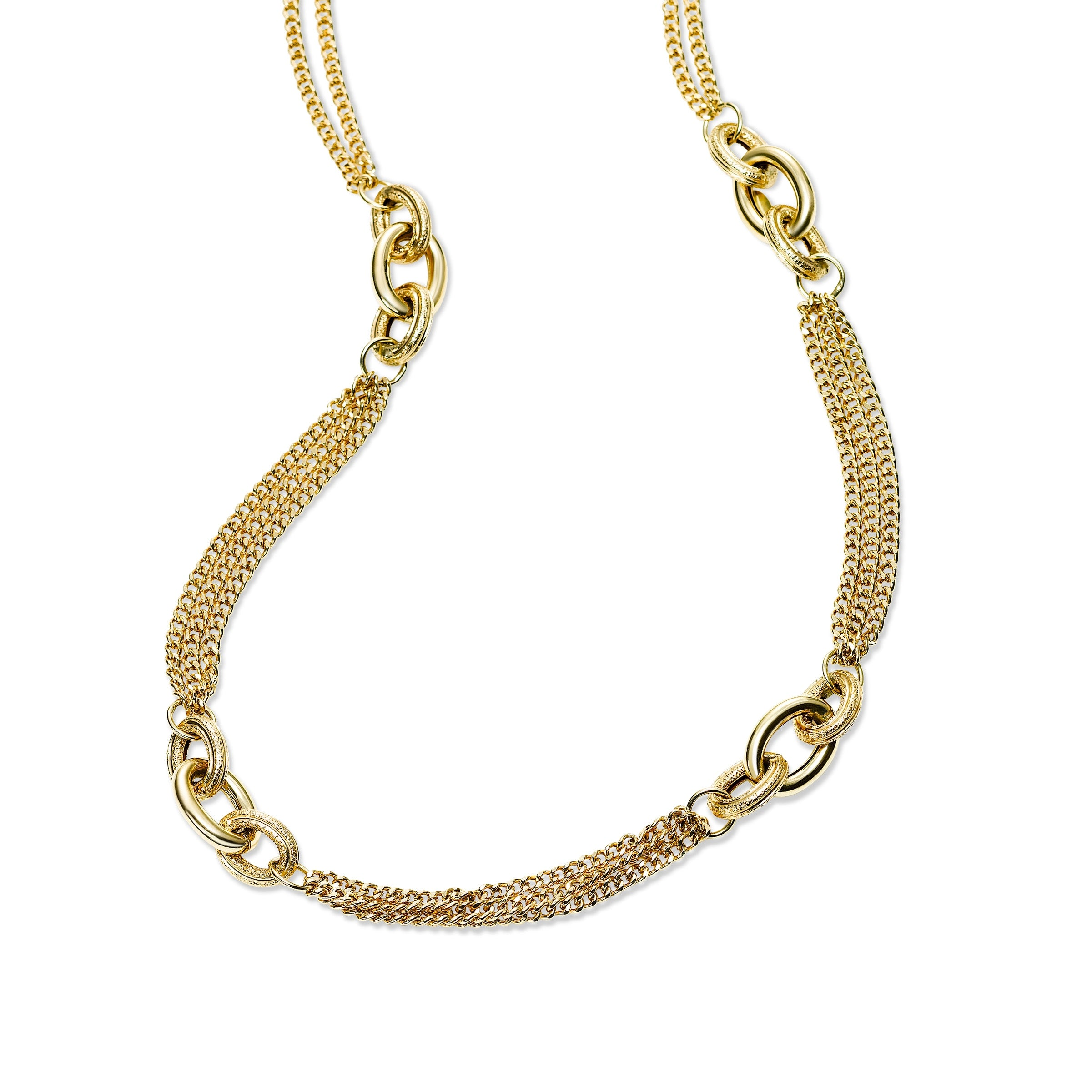 Gold Chain Station Necklace, 14K Yellow Gold