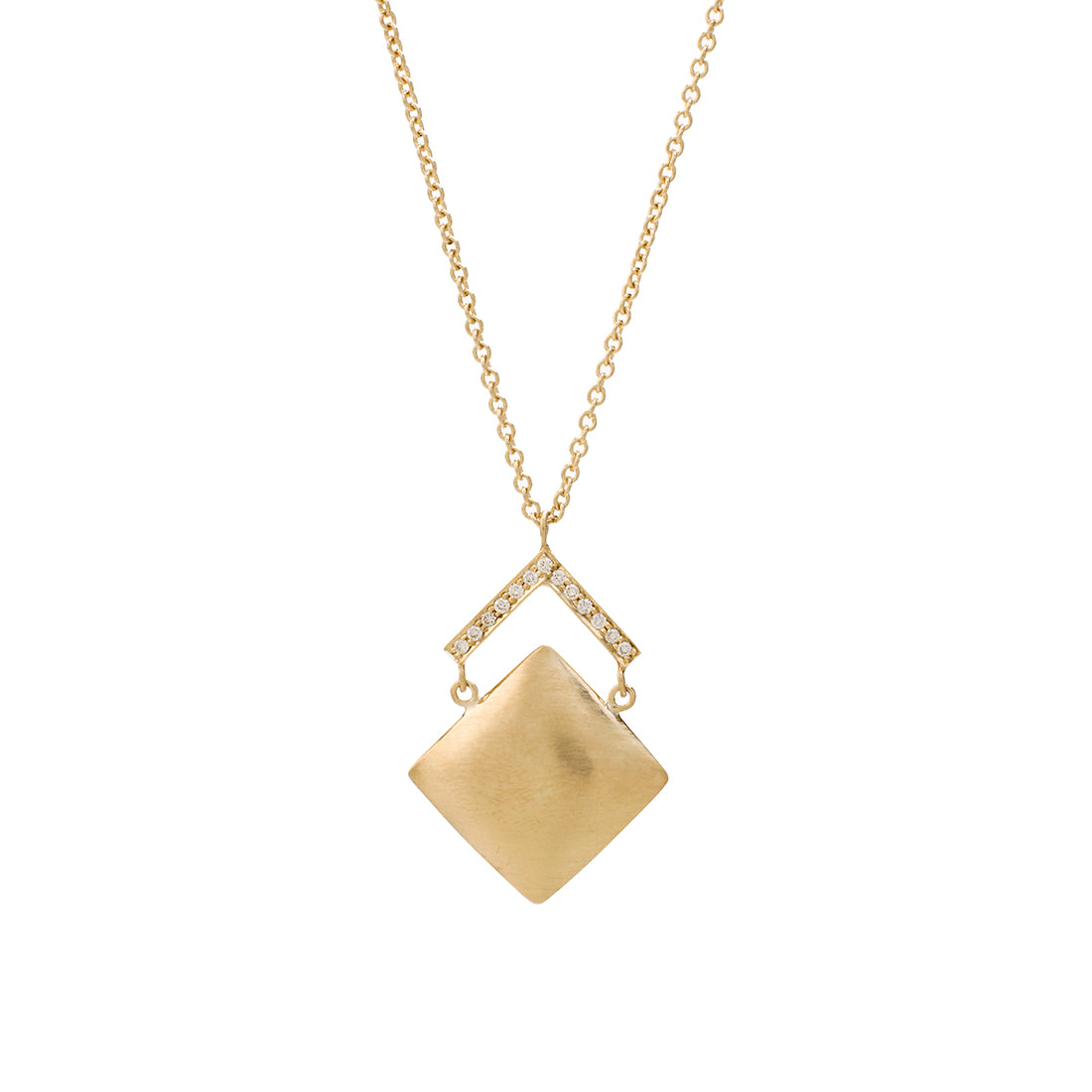 Satin Finish Diamond Chevron Pendant, 18K Yellow Gold