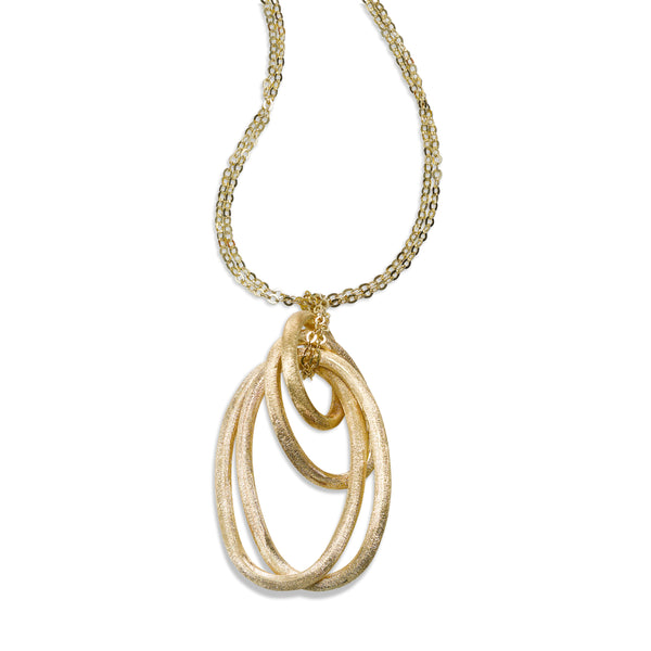 Florentine Finish Oval Drop Pendant, 14K Yellow Gold