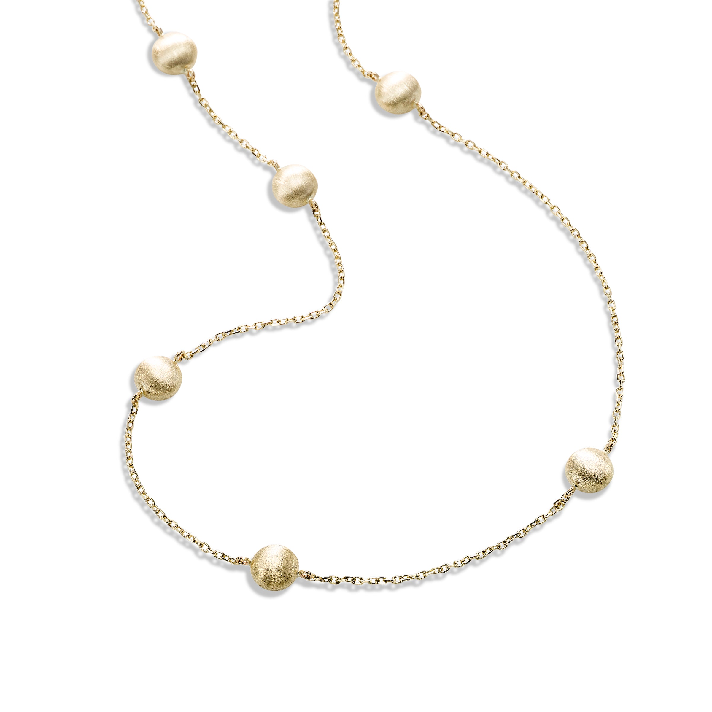 Satin Finish Bead Station Necklace, 36 Inches, 14K Yellow Gold
