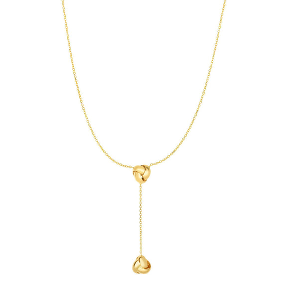 Polished Knots Lariat Style Necklace, 14K Yellow Gold