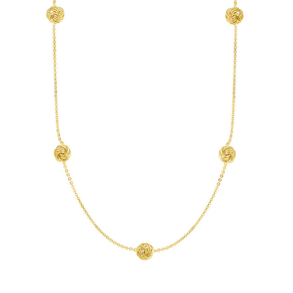 Love Knot Station Gold Necklace, 18 Inches, 14K Yellow Gold