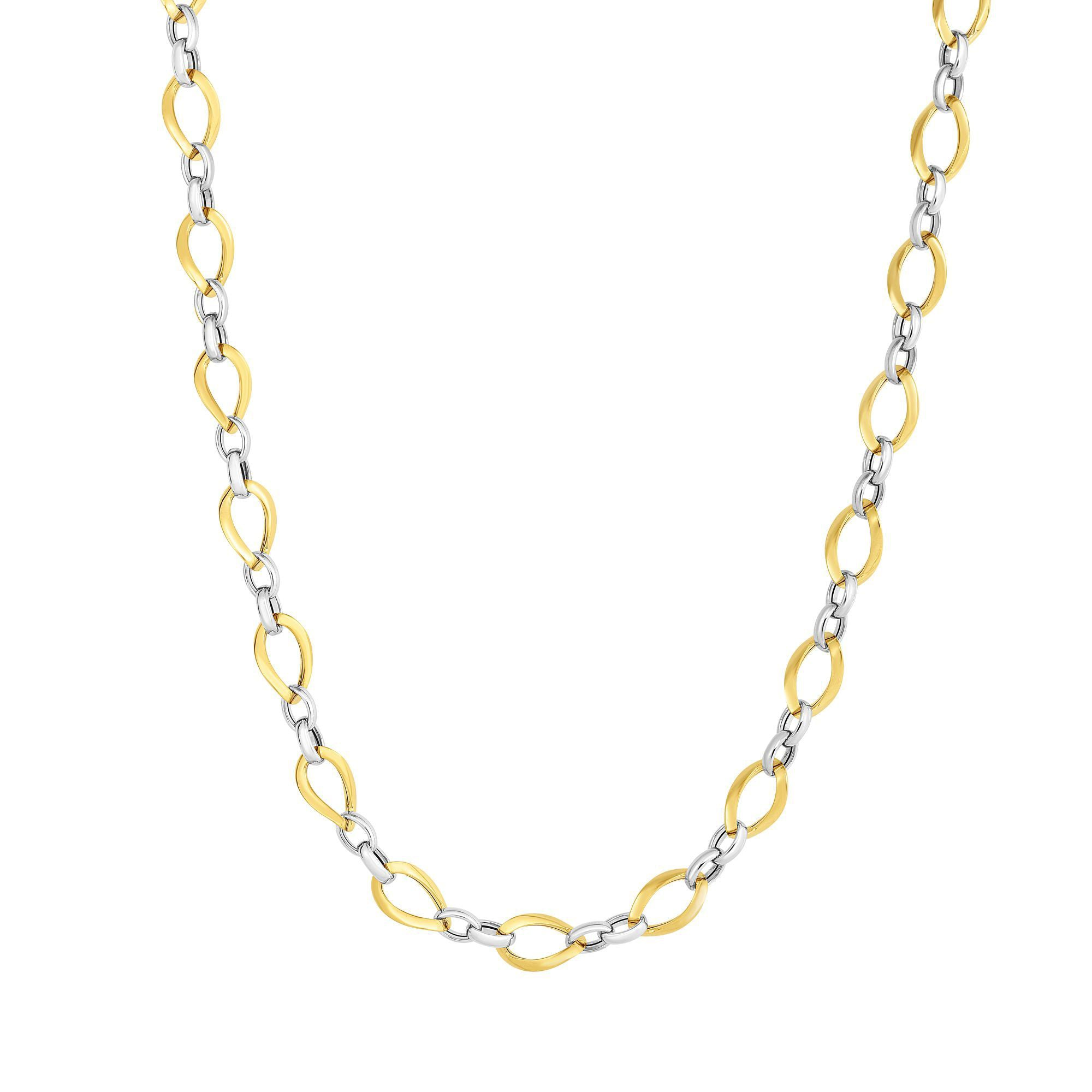 Two Tone Polished Oval Link Necklace, 14 Karat Gold