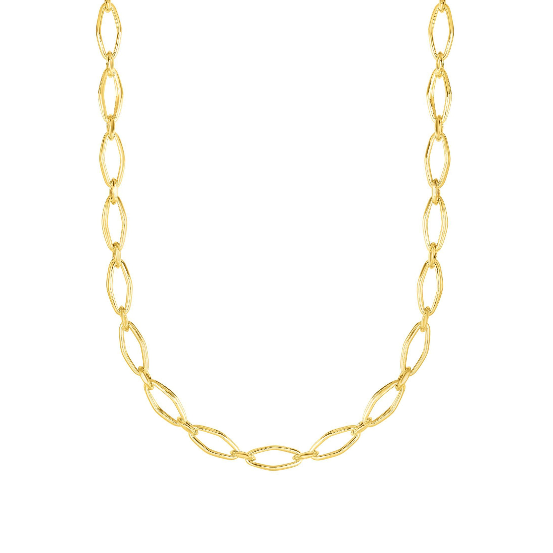 Yellow Gold Open Link Necklace, 14K Yellow Gold