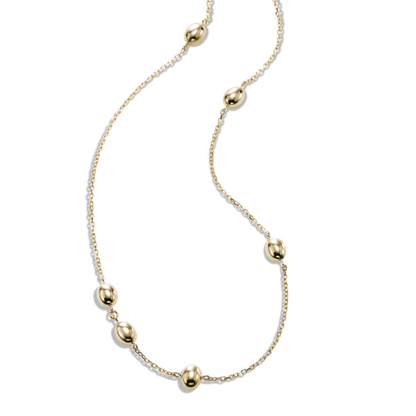 Shiny Bead Station Necklace, 16 Inches, 14K Yellow Gold