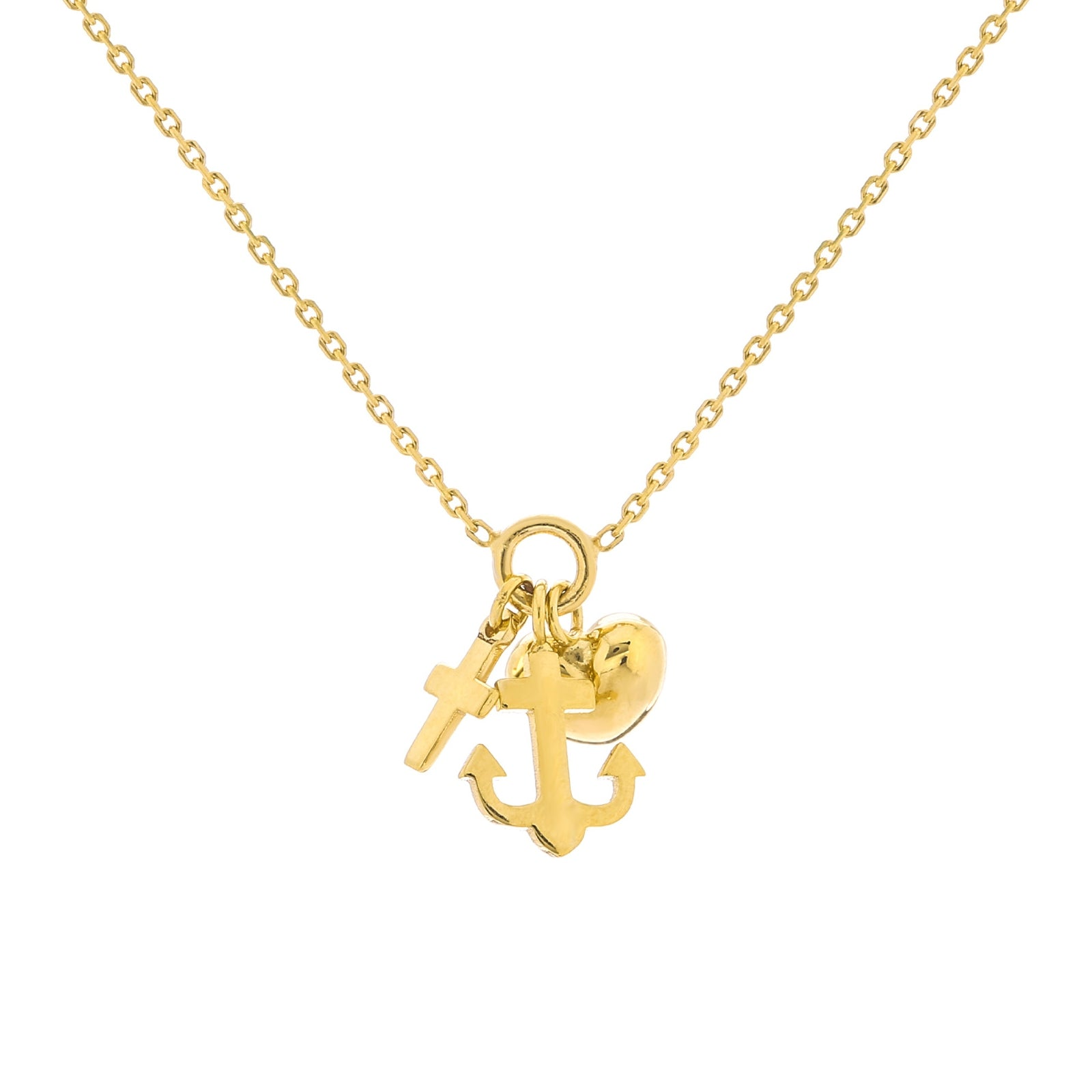 Faith, Hope and Charity Charm Necklace, 14K Yellow Gold