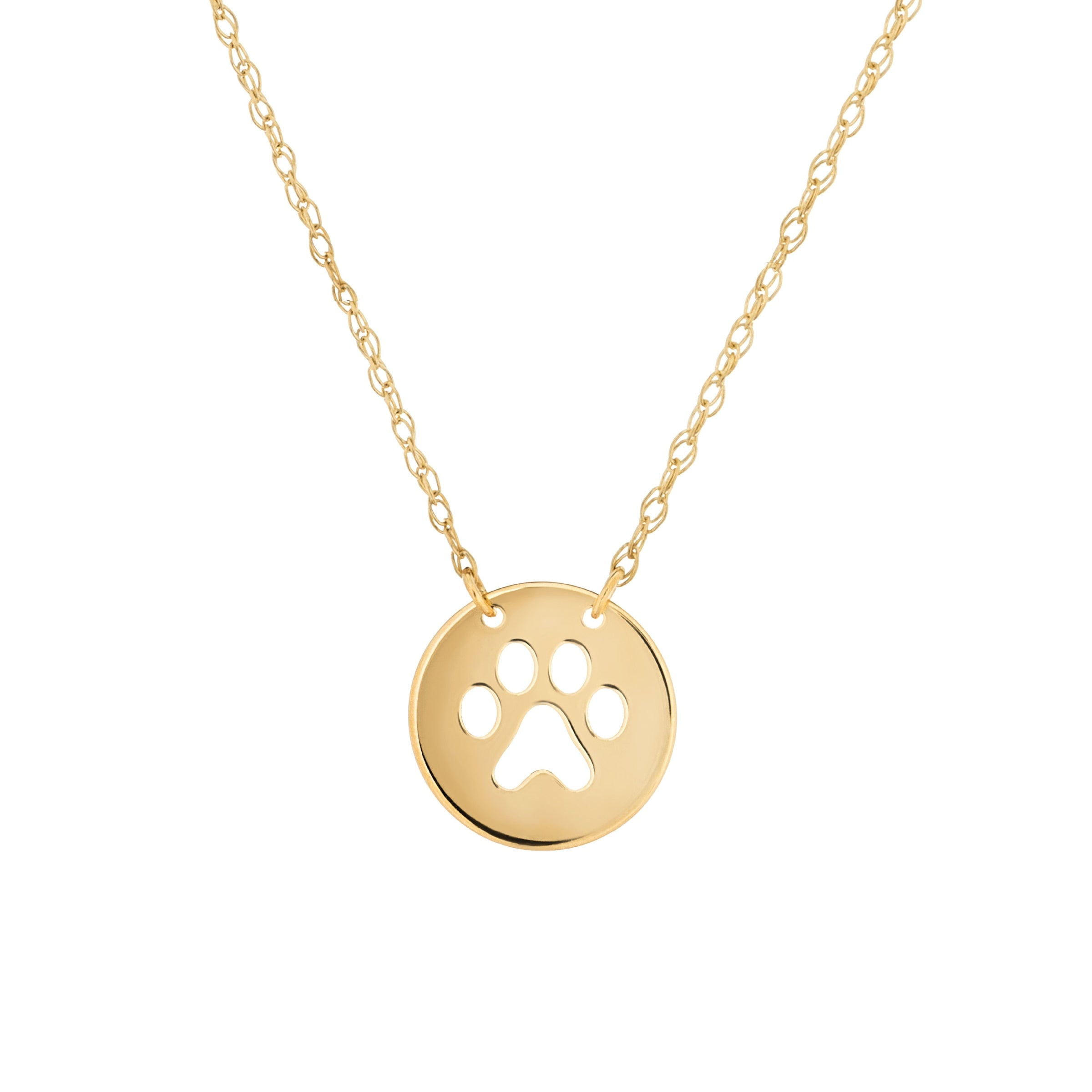Cat Dog Paw Print Cut Out Necklace, 14K Yellow Gold