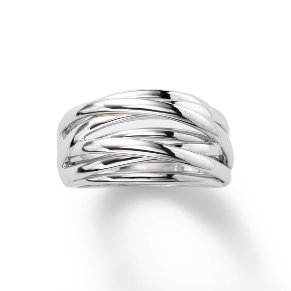 Domed Overlapping Strands Ring, 14K White Gold
