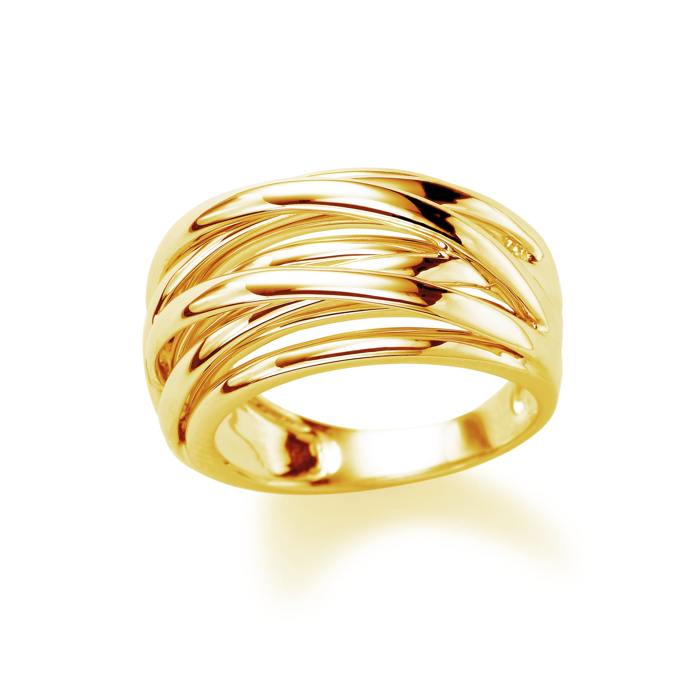 Domed Overlapping Strands Ring, 14K Yellow Gold