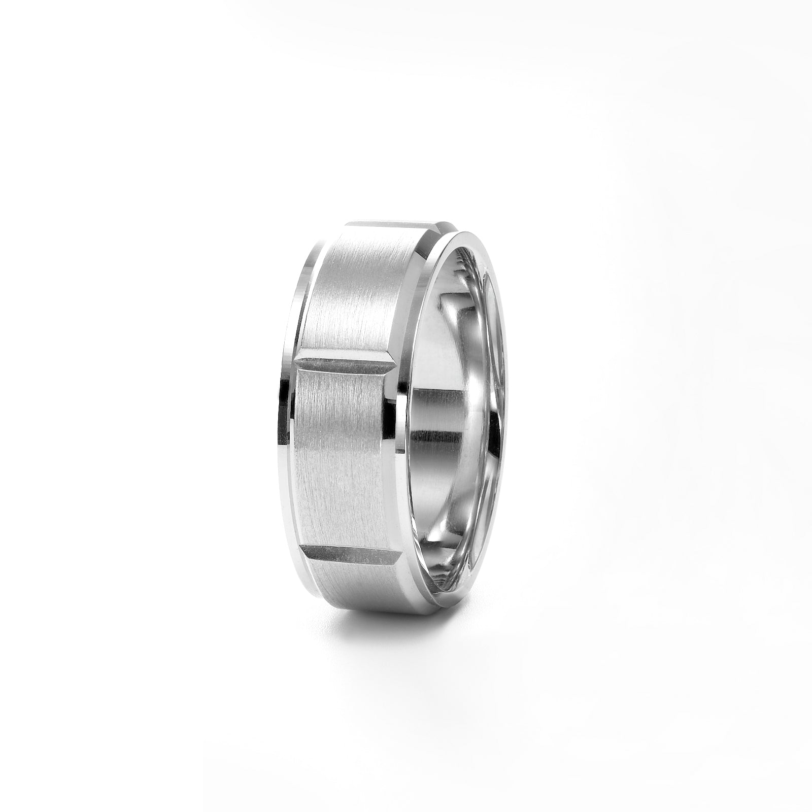 Men's Brushed Beveled Wedding Band, 8 MM, 14K White Gold
