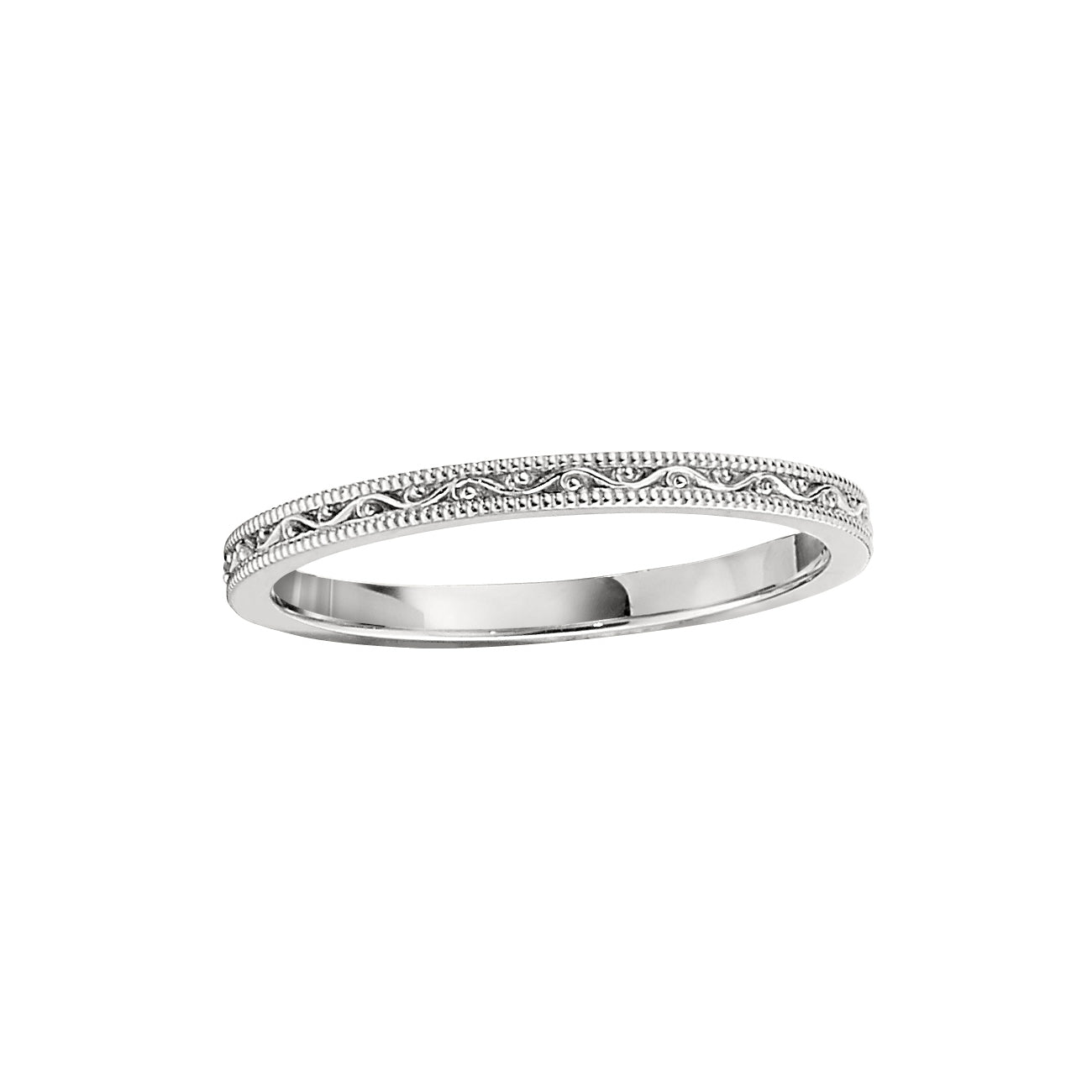 Delicately Sculpted Wedding Band, 14K White Gold