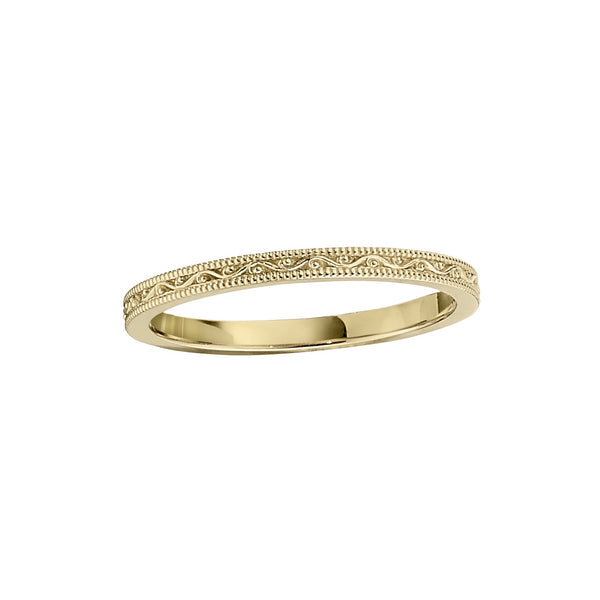 Delicately Sculpted Wedding Band, 14K Yellow Gold