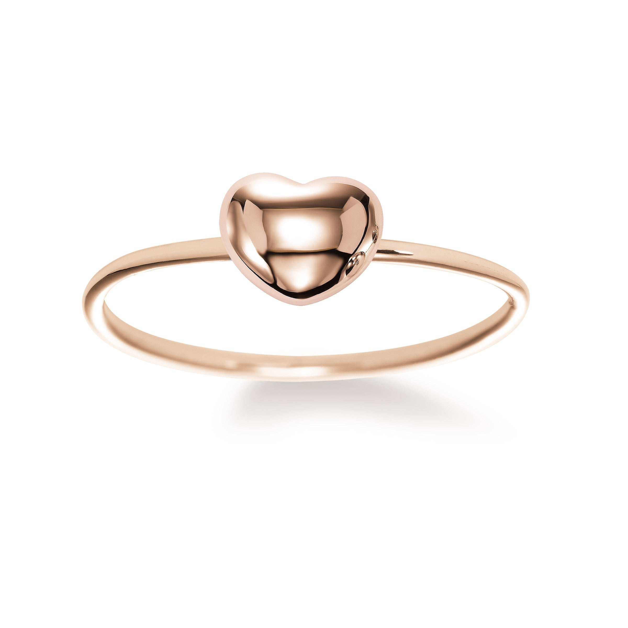 Shiny Puffed Heart Ring, 18K Rose Gold