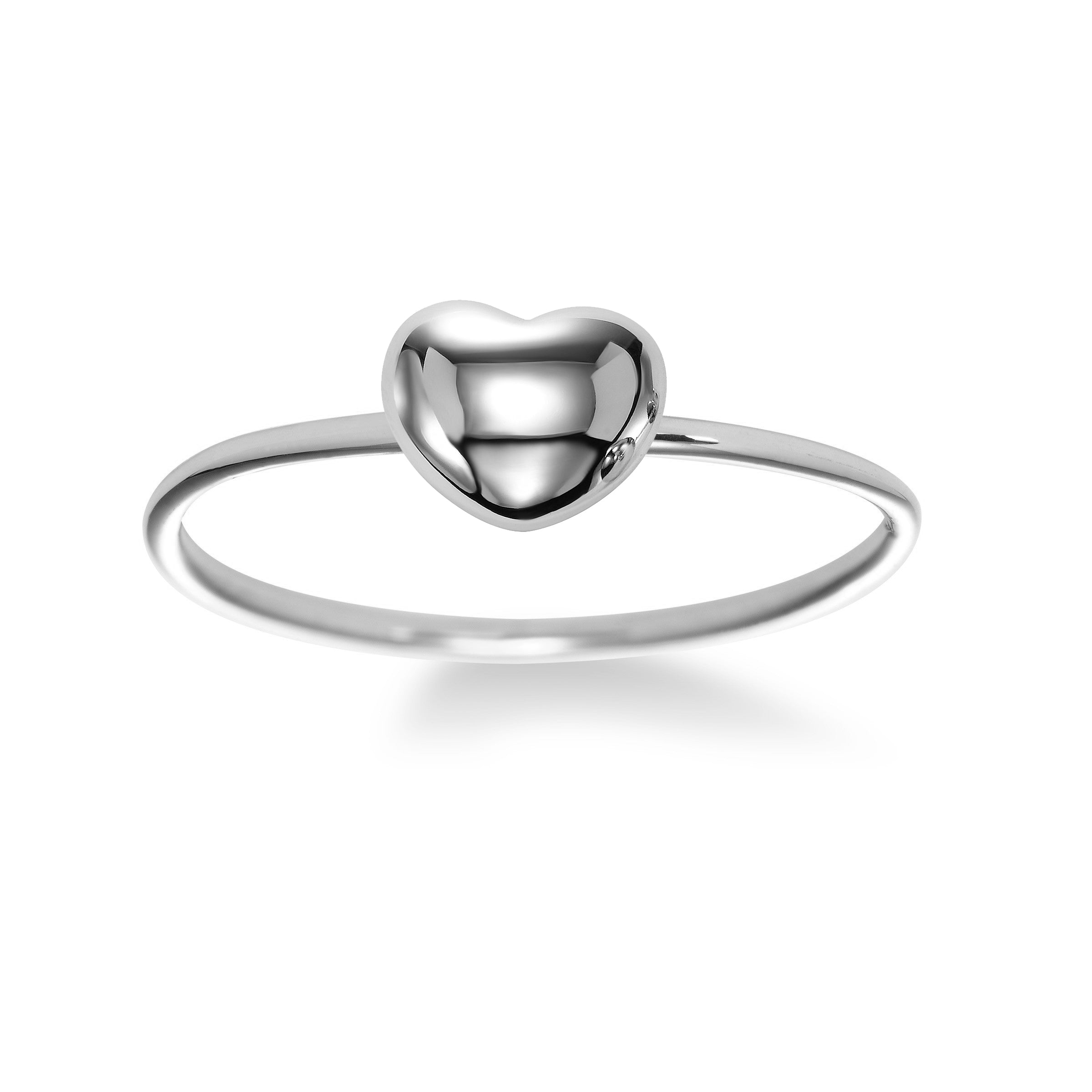 Shiny Puffed Heart Ring, 18K White Gold