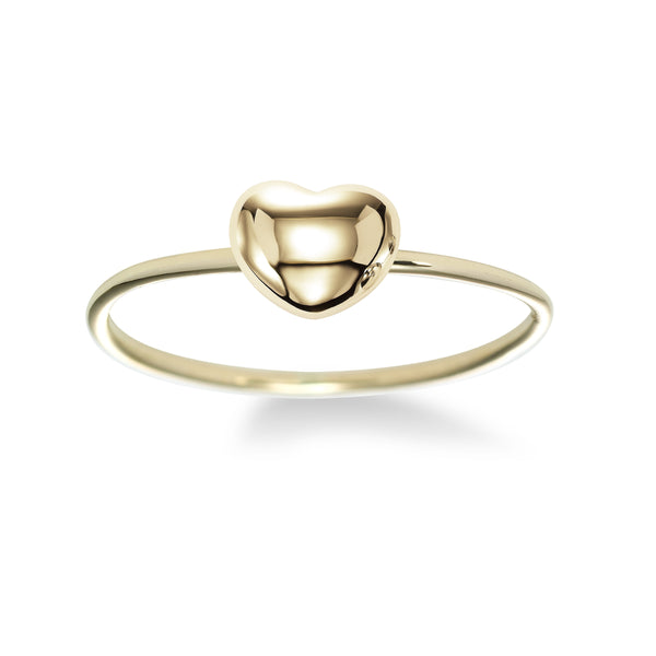 Shiny Puffed Heart Ring, 18K Yellow Gold
