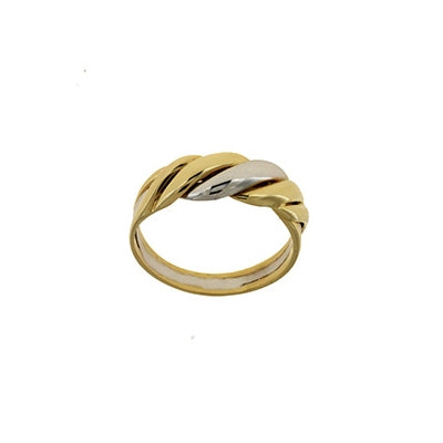 Two Tone Scalloped Ring, 18 Karat Gold